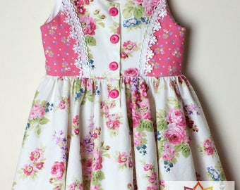 Floral Dress for Girls ~ size 3 ~ pink/white roses