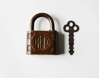 Antique Padlock ACME RFD Brass Postal Lock with Key Antique Lock Rustic Collectible
