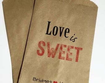 ON SALE Love is Sweet Candy Buffet Bags, Wedding Candy Favor Bags, Candy Bar Bags,