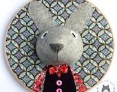 embroidery hoop art, custom nursery decor, faux animal rabbit head, personalised gift, faux taxidermy, birthday, woodland nursery, kids room
