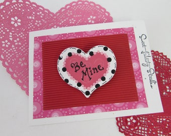 Valentine Be Mine Heart Brooch Pin Handpainted Pink Wood Heart XOXO Love Valentines Day Gift
