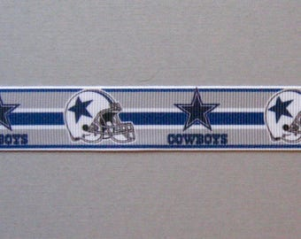 "Dallas Cowboys 7/8"" Navy & Gray Striped Grosgrain Ribbon"