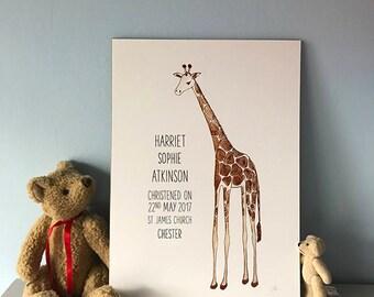 Children's Personalised Animal Print Giraffe - Giraffe Print - Customised Art - Nursery Art Print - Personalised Art for Kids