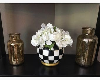 Black and White Check Globe Vase