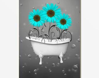 wonderful turquoise gray bathroom ideas | Aqua gray bathroom | Etsy