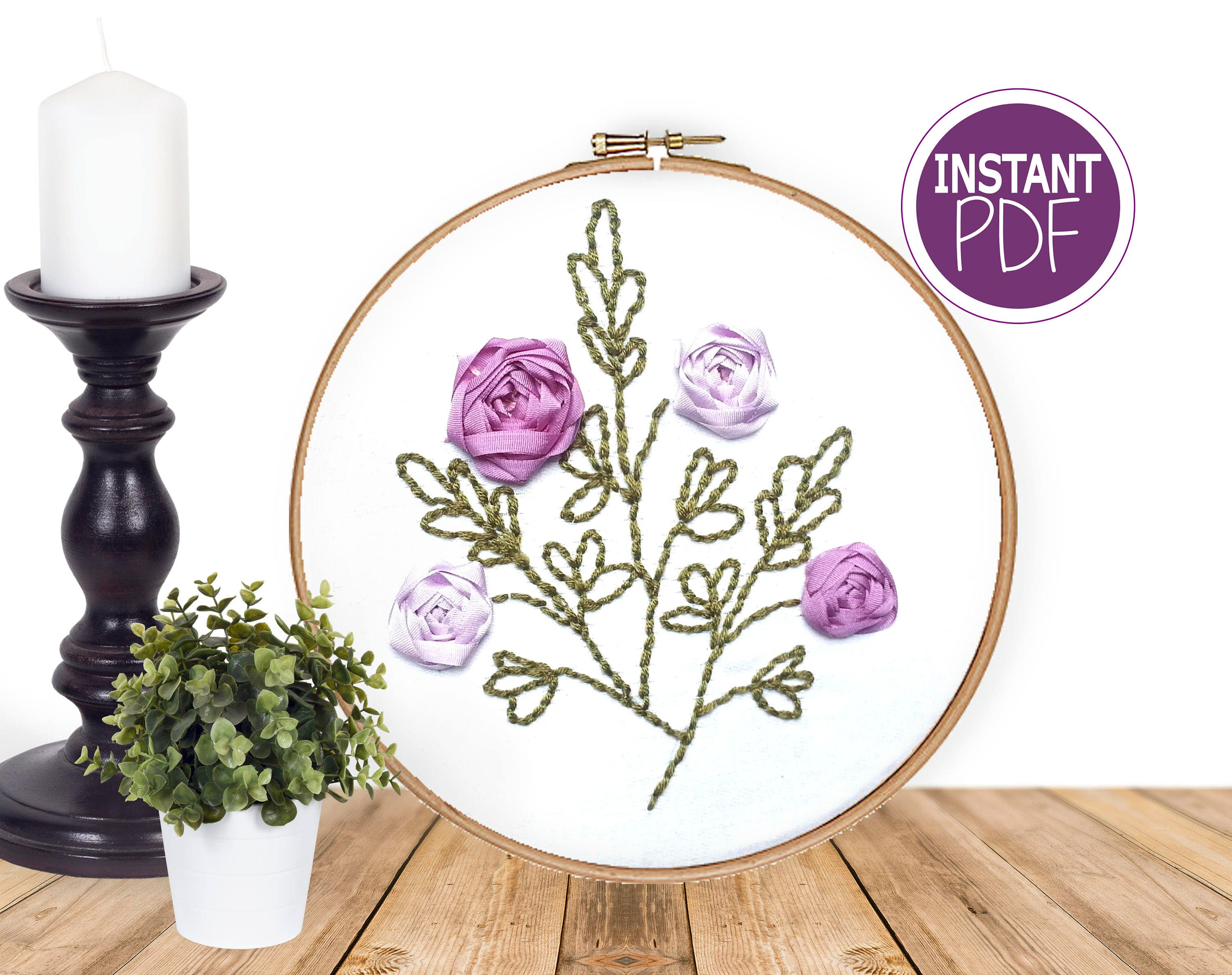 Ribbon embroidery pattern roses design hand