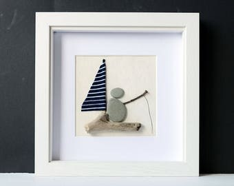 Framed Pebble Art - Pebble Fisherman - Stone People - White Wood Frame - Square Wall Art - Fishing Lover's Gift