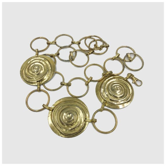 80's Gold Medallion Chain Belt - Copper Golden Tone Statement Chain Belt - Adjustable One Size Link Belt Gold Tone Vintage Artsy Chain Belt