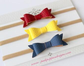 Leather Bow Headband Set, Navy, Yellow, Red, Baby Girl Headbands, Nylon Baby Headbands, Navy Headband, Infant Headbands, Mini Bow Headbands