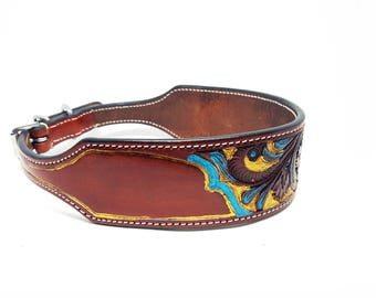 1 Of 1 Prototype Turquoise, Gold & Brown MadcoW Western Hand Tooled Canine Leather Cowhide K9 Dog Collar Hand Made Fully Adjustable 18""