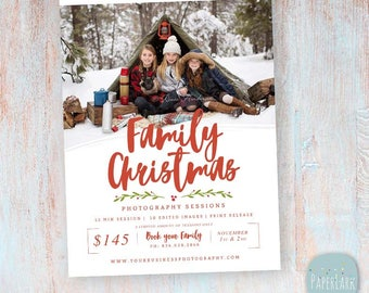 Christmas Mini Session Template - Holiday Marketing Board - Photoshop template - IC052 - INSTANT DOWNLOAD