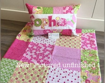 Pink, yellow and green Quilt and pillow set with butterflies and flowers