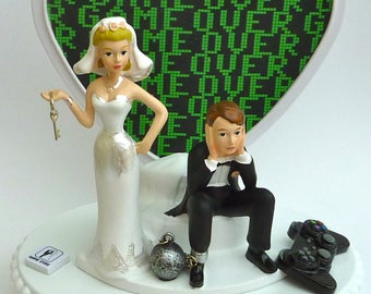 Wedding Cake Topper Video Gamer Game Over Player Controller Themed Ball and Chain Dejected Groom Bride Humorous Funny Unique Heart w/ Garter