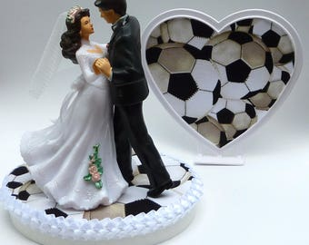 Wedding Cake Topper Dancing Bride and Groom Couple Soccer Themed Sports Athletes Fans Ball Athletic First Dance Sporty Heart Base w/ Garter