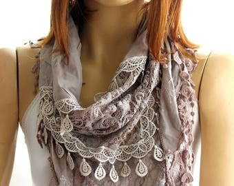 Brown lace scarf - Woman's Scarves - Scarves - Scarf - gift - Women Accessories - Gift ideas - lace scarf- lace shawl- spring scarf- scarf