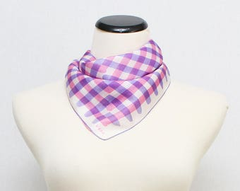 Silk Vera Neumann Scarf - Vintage 1950s Pink and Purple Square Silk Vera Scarf