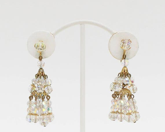 Vintage 1960s Crystal Tassel Clip On Earrings