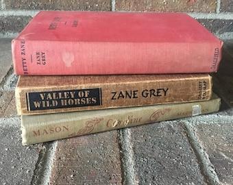 Decorative Books // Vintage Book Set // Antique Books // Old Book Set