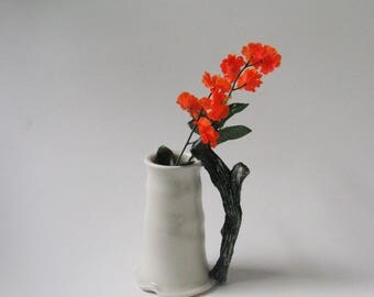 Porcelain vase with black and white branch design vase / ceramic vessel by echo of nature , yumiko goto