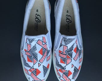 Hand Painted Canvas Shoes size US 10.5 / EU 42 White Red Black Stripe Motif