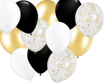 """15pcs of 12"""" latex 3 Metallic gold, 6 Gold/clear confetti, 3 ea black and white. Graduation balloons, party decor,"""