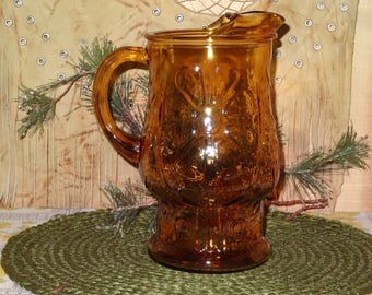 Amber Glass Pitcher / Vintage Pitcher / Flower Pitcher / Amber Glass / Large Pitcher