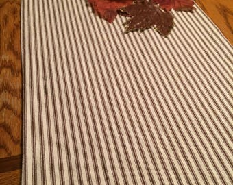 Chocolate Brown Ticking Country Table Runner, Ticking Stripe Table Runner, Navy  Stripe Table Runner