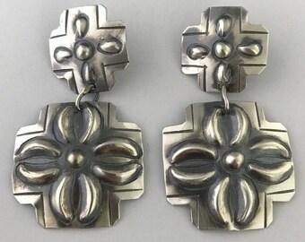 Native American Navajo Sterling Silver Hand Stamped 2 Cross Earrings - Tim Yazzie
