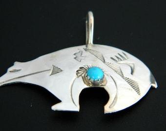 Native Amerian Navajo Turquoise Sterling Silver Handmade Bear Pendant Ed Abeyta