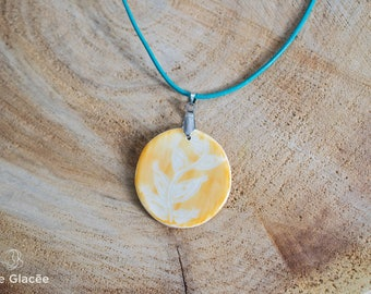 Ceramic necklace, ceramic jewelry, porcelain, leather cord,  white, golden yellow, sgraffito, organic pattern, stainless steel, handmade