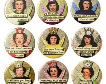 Retro Snark Attitude Girls Fridge Magnets Set x9 55mm Novelty Round Magnet Funny Rude Women Gift
