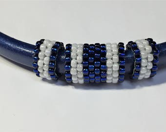 SALE: 3pc Handmade Beaded Tube Set, Licorice Leather Half Round,, 8mm round cord, Versatile, Blue and White