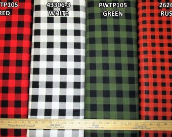 Buffalo Plaid 100% Cotton Fabric! Red, White, or Green [Choose Your Cut Size]
