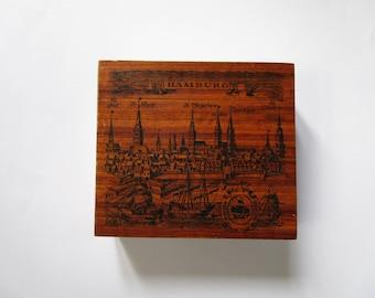 SALE 25%  Wood Hamburg box, trinket box, German vintage