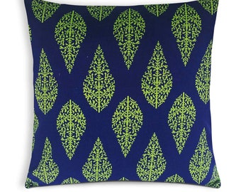 Navy and Green Trees Cotton Cushion Cover - Handmade Cotton Throw Pillow - Decorative Pillow Cover - Mothers Day Gift - Gift for Her