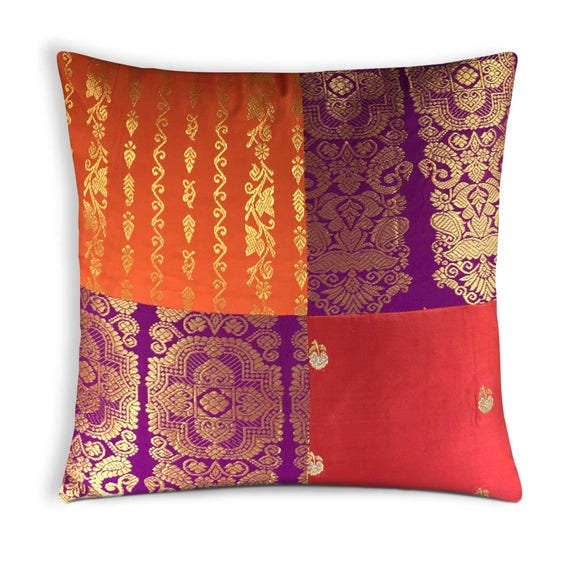 Items Similar To Orange Purple Red Silk Pillow Cover