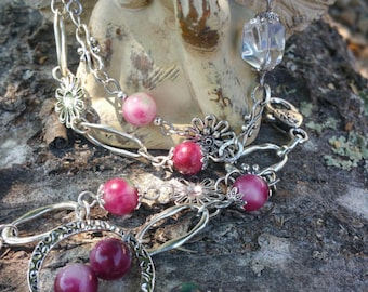 Bracelet antique silver, double round genuine tourmaline and rock crystal, stone of release