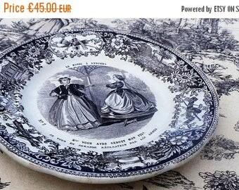 Summer Sale 15% Off Creil et Montereau Antique French Transfer Printed Plate 1800's Le Monde A L'Envers's Earthenware Black White L M & Cie