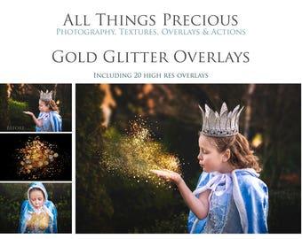 Fine Art Digital GOLD GLITTER Overlays