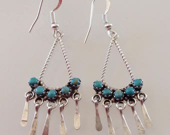 Zuni Sterling Silver Turquoise Native American Petit Point Dangle Earrings - Michael Bitsie