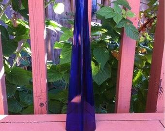 Cobalt Blue Glass Triangle Bottle Blue Glass Bottle. Cobalt Blue Bottle. Collectible Decorative Cobalt Blue Glass Bottle / Bud Vase Flower