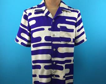 Vintage Kimono Hawaiian shirt, delicate vintage silk, US size S