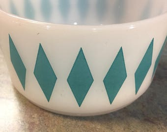 Fire King Turquoise Diamonds on Milkglass Cereal Bowl