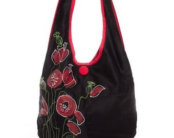 Shoulder bag poppies, fabric red black, delicate style