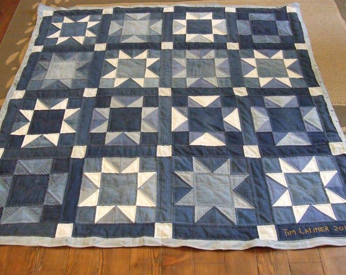 Featured listing image: Denim Star Quilt