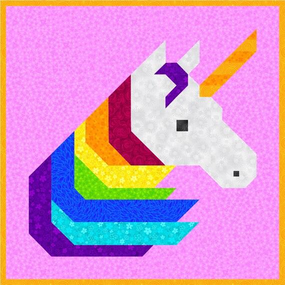 Rainbow Unicorn Quilt Pattern Pdf Instant Download Modern