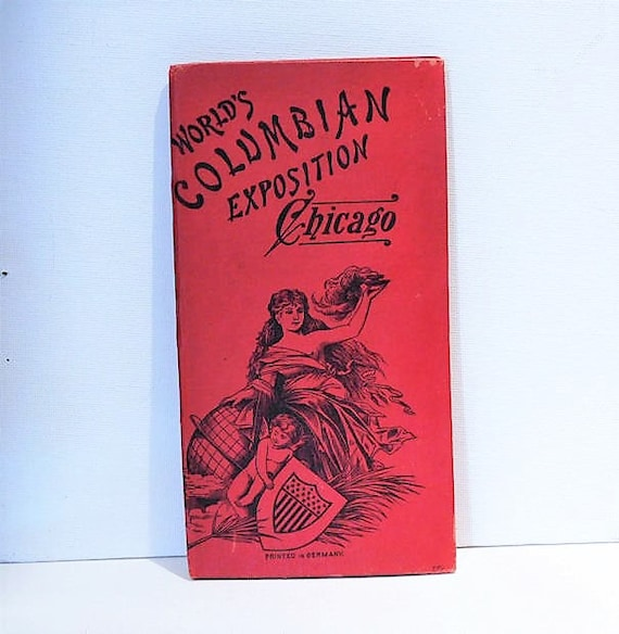 1893 Worlds Columbian Exposition Chicago Souvenir Book Booklet Semi Nude Cherub Antiquarian Pictorial Accordion Folder Lithograph Prints