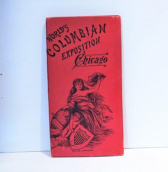 1893 Worlds Columbian Exposition Chicago Souvenir Book / Antiquarian Pictorial Accordion Folder / Lithograph Prints