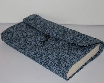 Pouch protects book pocket, classic or XL, protective book cover of book, reader gift, cotton dark blue foliage motif