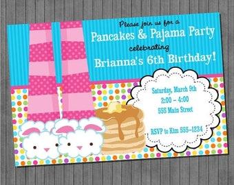 FLASH SALE Pancakes and Pajamas Invitations-V2
